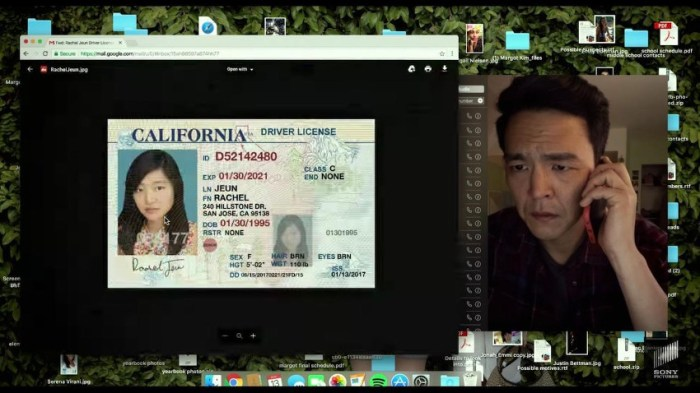 Szenenbild aus SEARCHING (2018) - David (John Cho) kann nicht glauben, dass seine Tochter einen Führerschein gefälscht hat. - © Sony Pictures