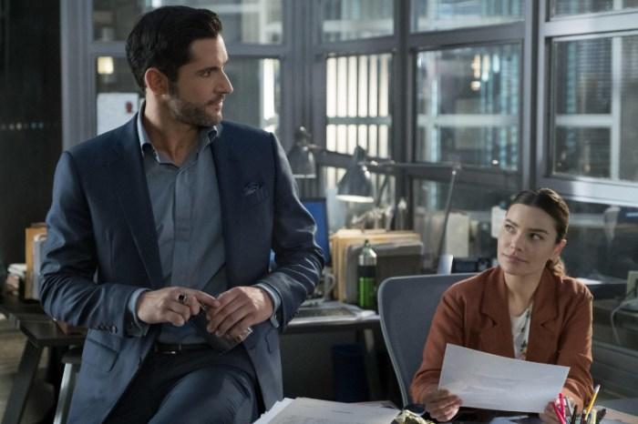 Szenenbild aus LUCIFER - 4. Staffel (2019) - Lucifer (Tom Ellis) und Chloe (Lauren German) - © Netflix