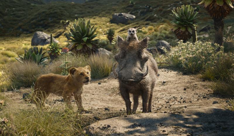 Szenenbild aus THE LION KING (2019) - Simba (JD McCrary), Timon (Billy Eichner) und Pumbaa (Seth Rogen) - © 2019 Disney Enterprises, Inc. All Rights Reserved.