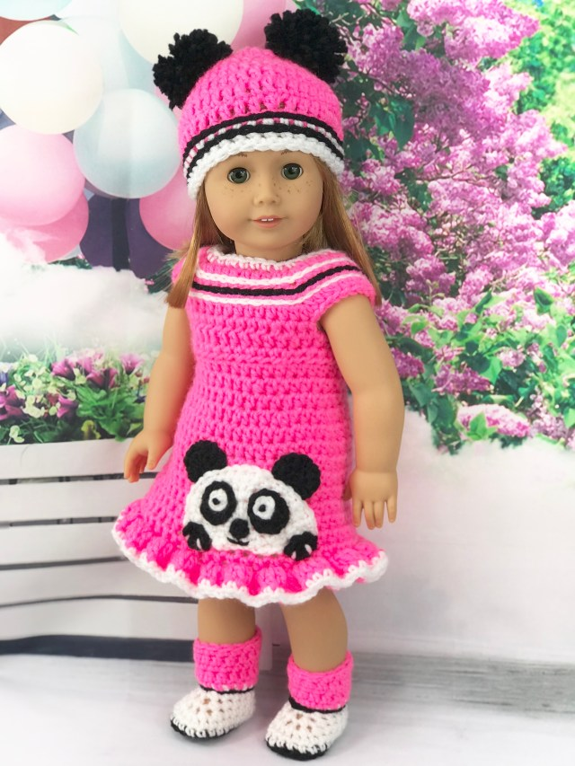 Free Crochet Pattern 18 Doll Pink Panda Outfit Adoring Doll Clothes