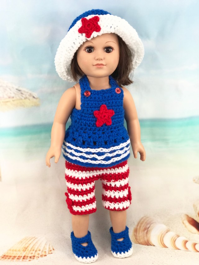 18 Doll Patriotic Crochet Pattern Outfit Adoring Doll Clothes