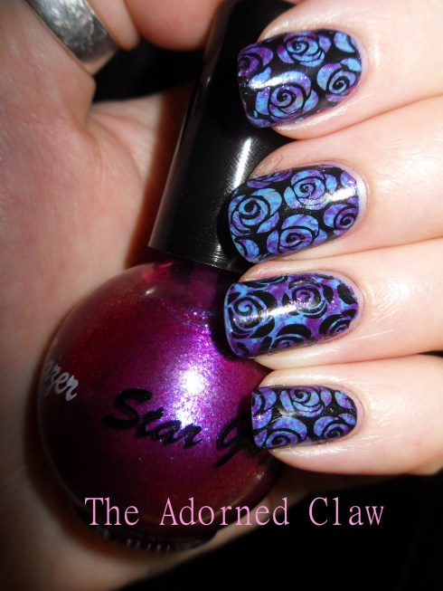 purple and blue rose nail art