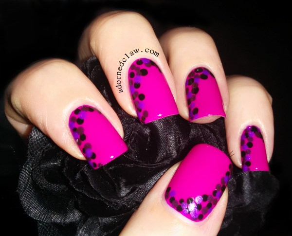 Pink Purple and Black Nail Design