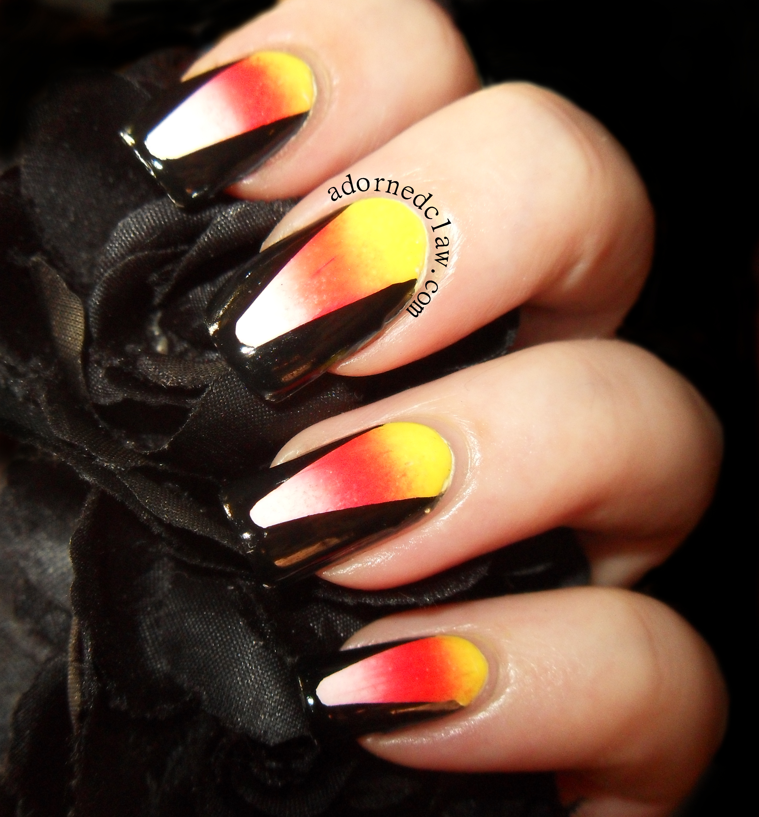 candy corn halloween nails