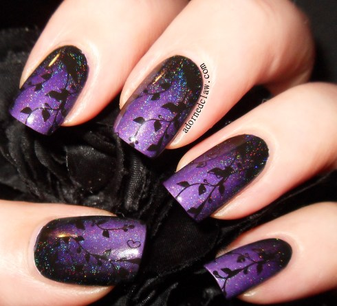 purple gradient with bridal nail