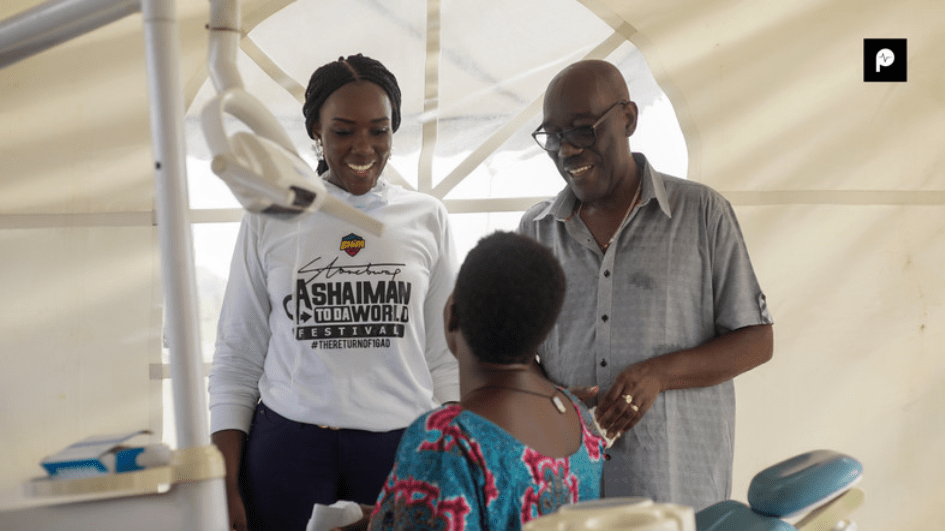 Watch: Stonebwoy's wife and father-in-law provide free health screening for Ashaiman residents