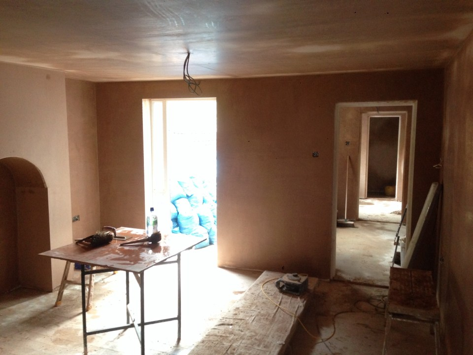 Freshly plastered room