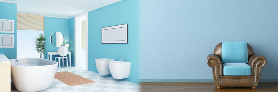 Blue walls, smooth plastered room