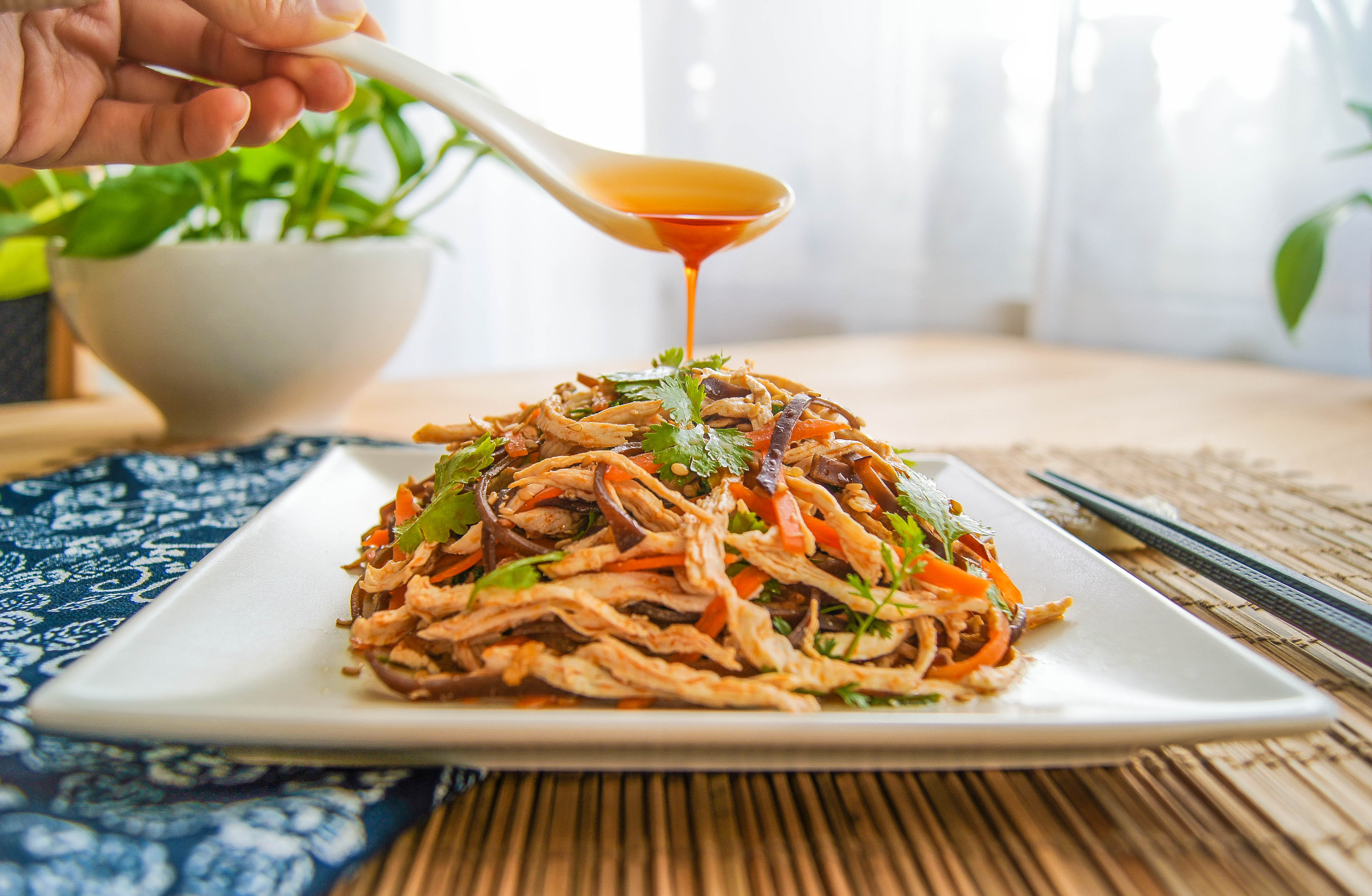 Shredded Chicken Salad with Red Chili Oil