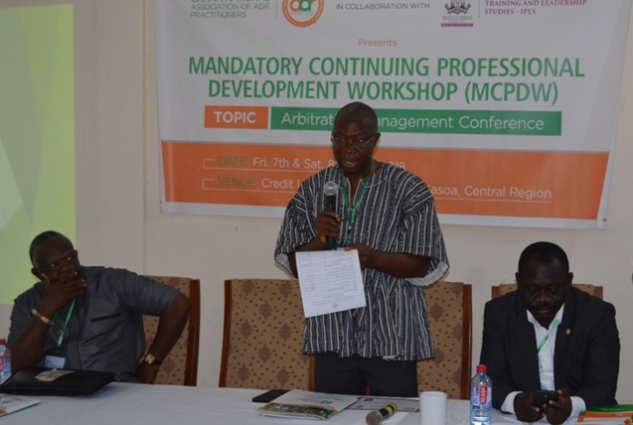Mr Sarpong Kumankuma, Vice President of GNAAP, addressing the workshop