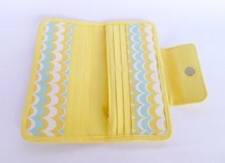 green yellow wallet open