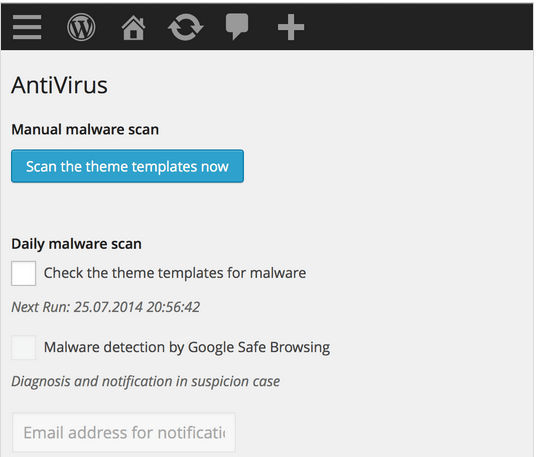 wordpress antivirus prikljucak