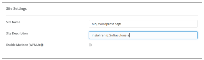 Softaculous slika 4 wordpress site settings 2