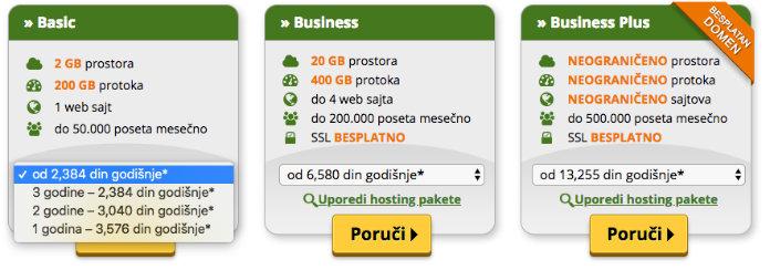 ponuda hosting paketa blog domen za firmu