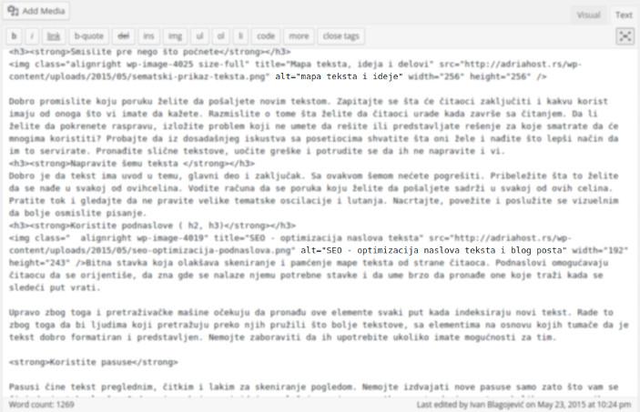 уносење алт текста у код текста