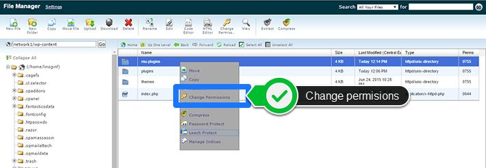 mu-plugins change permissions