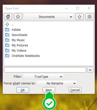 FontForge - kreiranje novog fonta