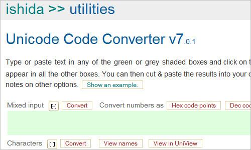 Unicode code converter