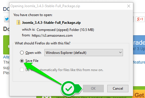 Joomla - preuzimanje instalacionog paketa 2