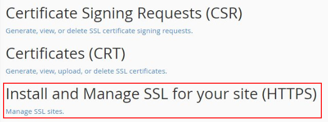 install and manage ssl cpanel