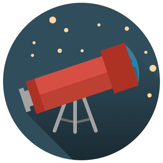 Flat ikonica - Teleskop na tronoscu slika 8