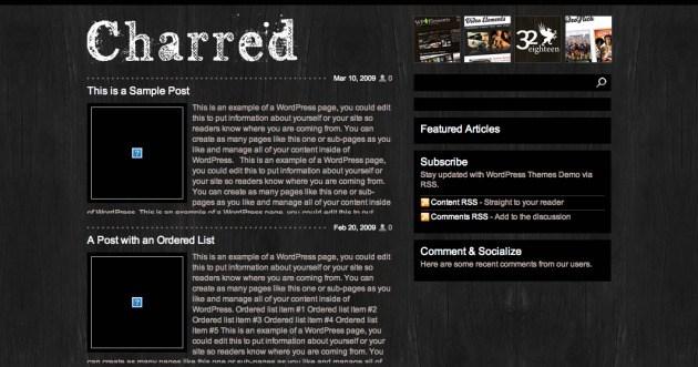 Charred WordPress theme