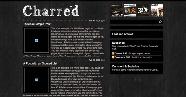 Charred WordPress theme