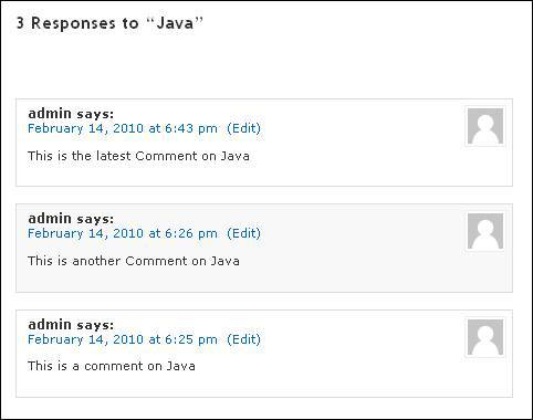 comments are shown on several pages