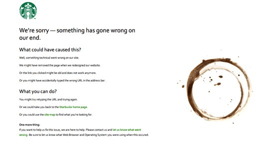 Creative and Interesting 404 Pages - Starbucks