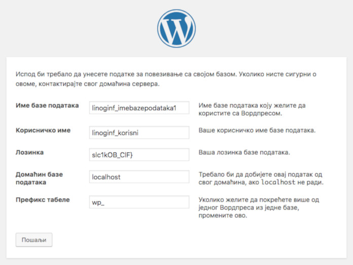 wordpress instalacija