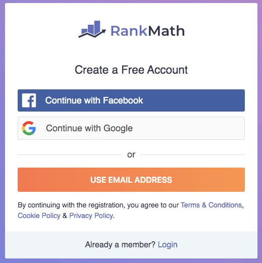 rank math registracija i nalog