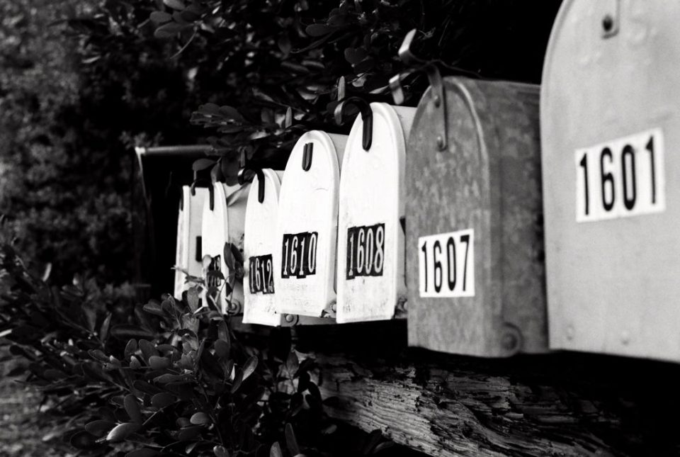Dallas Photographer Adria Lea Photography black and white film photography, mailboxes