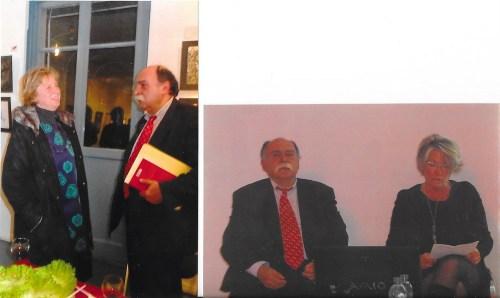 """Matei Cazacu alàturi de Dna Bossy-Ghica, în timpul prezentàrii, si de Dna.Myriam Bulut-Ghika, descendente ale """"contemporanului nostru"""""""