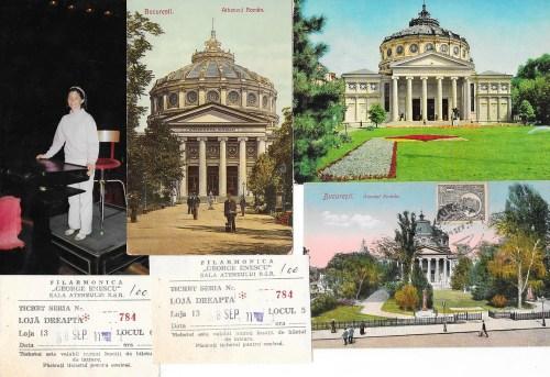 """Ateneul, din 1900 pânà acum. In anii '50, cu medalioanele acoperite și statuia """"Au but"""" de Alfred Boucher. In 1991, la pupitru, un dirijor neașteptat; soția mea!"""