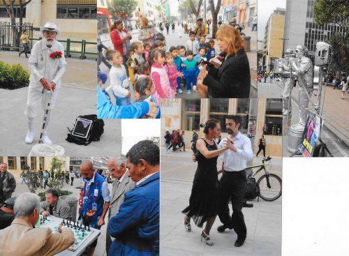 La Bogota, artiștii ocupă strada (la Septima,  de câțiva ani rezervată în totalitate pietonilor!)