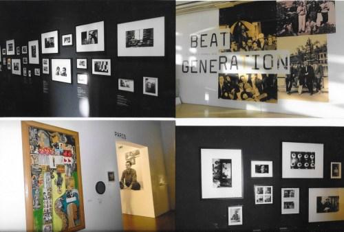 Affiche-titre de l'exposition et mur avec les photos de Harold Chapman au « Beat Hotel »