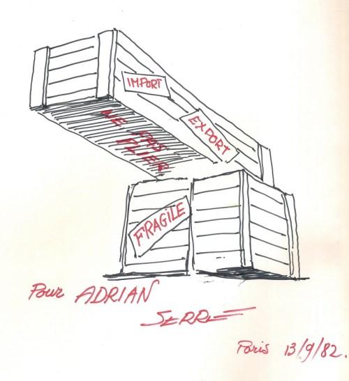 Dédicace de Serre sur son livre de dessins humoristiques : « Serre…vice compris ». Le métier de l'ingénieur spécialiste de la vente ne se limite pas à l'exportation des installations industrielles !