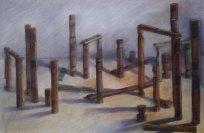 """Rebuild"", Adriana Burgos 2011, Charcoal and pastel on paper 38.5"" x 29"""