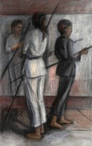 """Bow Poles, Adriana Burgos, 2014, charcoal and pastel on paper, 27"""" x 37"""""""