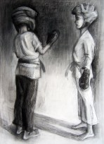 """In Helmets, Adriana Burgos, 2012, charcoal and white chalk on paper, 29.5 """" x 38.5"""""""