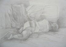 "My son, Nicolas sleeping # 1 Adriana Burgos 2004 Silverpoint on gessoboard 10"" x 8"""