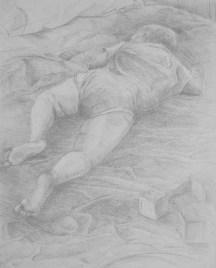 "My son, Nicolas sleeping # 4 Adriana Burgos 2004 Silverpoint on gessoboard 10"" x 8"""