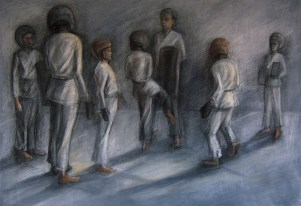 """Sparring Drill, Adriana Burgos 2013, charcoal and pastel on paper, 38.5"""" x 29.5"""""""
