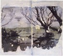 Adriana Burgos, mixed media sketchbook drawing
