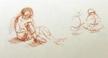 Adriana Burgos, line gesture, karate sketchbooks, copic multi liner