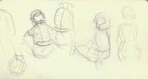 Adriana Burgos, line gesture, karate sketchbooks, graphite