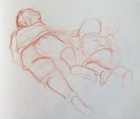 Adriana Burgos, 2007, Nicolas and Felipe Sleeping, quick gesture sketchbook drawing