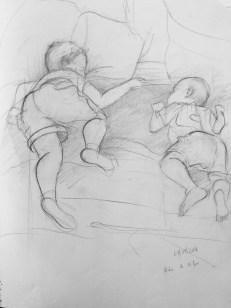 Adriana Burgos, 2007, Nicolas and Felipe Sleeping, sketchbook drawing