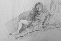 Adriana Burgos, 2007, Nicolas Sleeping, sketchbook drawing
