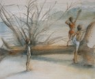 """""""At the beach"""", Adriana Burgos, watercolor on paper, 8.5 x 10 inches, 2012"""